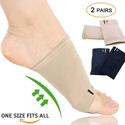 Compression Arch Support Sleeves Sock Mixed with Comfort Gel Pad, Elastic Bandage Arch Flatfoot Orthotics Massage Insoles Pads - Complexion & Black(2 Pair) ()