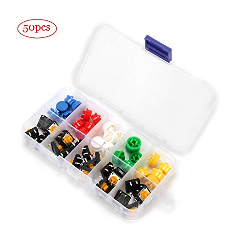 (Oak-Pine 25pcs Micro Tactile Push Button Switch with 5 Colors Round Cap Assortment Kit for Arduino, DIY Project)