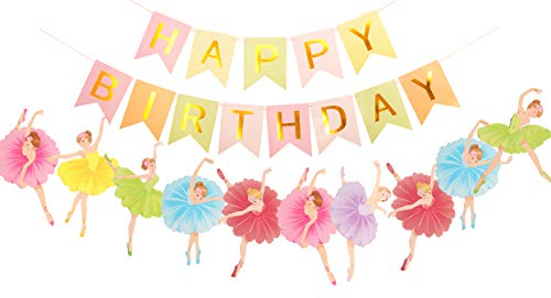 MEANT2TOBE Ballerina Birthday Party | Ballet Dancer Party Supplies Banner| Baby Girl Ballet Happy Birthday Banner| Ballet Girls Dancer Banner Garland for Birthday Party Favors Decoration (Colorful)