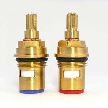 FITS FRANKE 1/2' replacement brass ceramic disc tap valve cartridge quarter turn insert gland + SOLID BRASS SCREWS (20 Spline Without Threaded Collar (short 8mm spline length)) TAP MAGICIAN