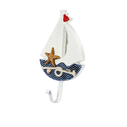 Marine Style Fashion Utility Creative Decorative Wooden Hooks,Sailboat (Sailboat Rack)