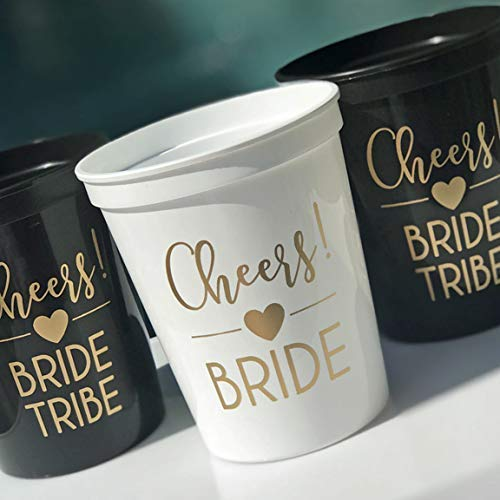 Bride & Bride Tribe Bachelorette Party Cups for Weddings, Bridal Showers, Bridal Party, Engagement Party - 11 pack - Black and Gold Party Cup - Bachelorette Party Favors