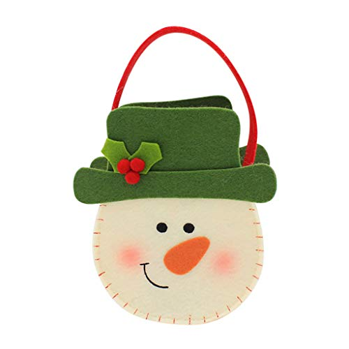 MIS1950s Santa Claus Candy Bags Kids Cookies Gifts Pouch Wrap Home Grocery Bucket Bag Storage Dispenser Tote for Christmas Birthday Party (Green)