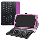 Alcatel 3T 8 Wireless Keyboard Case,LiuShan Detachable Wireless Keyboard Standing PU Leather Cover for 8.0' Alcatel 3T 8 Inch 2018 Android Tablet PC,Purple