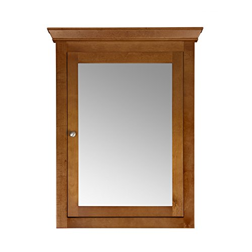 MAYKKE Maria 27'' W x 35'' H Wood Framed Medicine Cabinet with Mirror and Shelf | Traditional Wall Mount Multipurpose Organizer Bathroom Storage for Toiletries, Accessories | Natural Cherry, YSA2160101 by Maykke