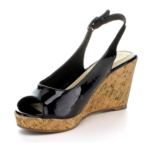 BellaMarie Soda-10 Women Peep Toe Cork Platform Wedge Pump Shoe Slingback Sandal, Color:BLACK, Size:5.5