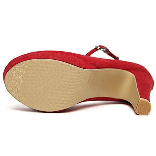 Alta Talón Plataforma Stiletto hebilla de correa de tobillo bombas zapatos de ante sintético