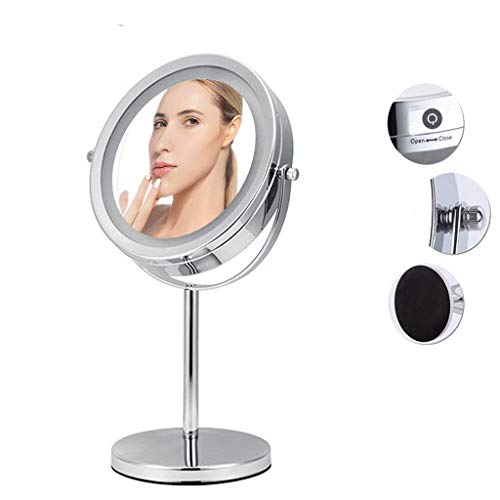Makeup Mirror, Bathroom Vanity Mirrors Handheld Mirror 7X/-10X Magnification Handle Stand Double-Sided -