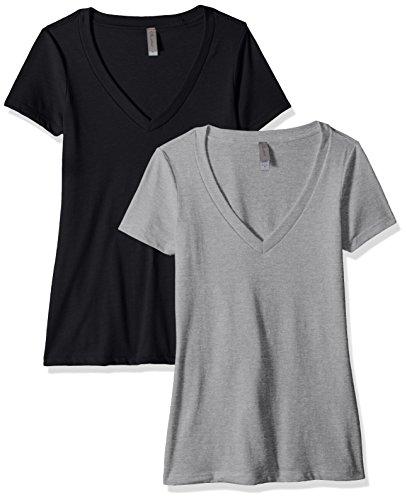 Clementine Apparel Women's Petite Plus Deep V-Neck T-Shirt (Pack of Two), BlackDark Gray, XXL