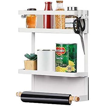 Nandae Magnetic Fridge Organizer, Spice Jars Rack Kitchen Rack Refrigerator Side Shelf Storage Rustproof with 4 Removable Hooks, White