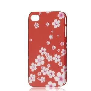 Water & Wood Glitter Rhinestone Flower Hard Case Back Cover Orange Red for iPhone 4 4G