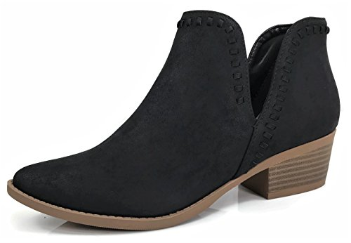 Ankle Bootie Cut V Women's Side Low Heel Detail Stacked Black Whip Chunky Stitch d5tnrnxf0
