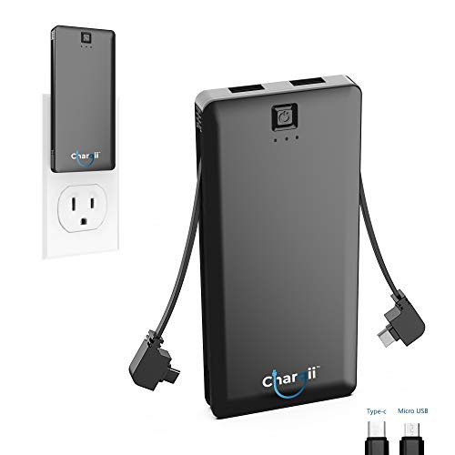 Chargii | Android Power Bank | All-in-One Portable Charger | Cell Phone Battery Backup | Built-in Wall Plug AC Adapter, USB-C & Micro USB Cables | 2 USB Ports | 5000 mAH | Black