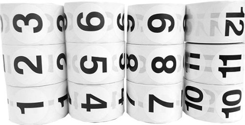 Number Labels 1.5'' Round Bulk Package 1-12 White Stickers with Black Numbers by InStockLabels.com