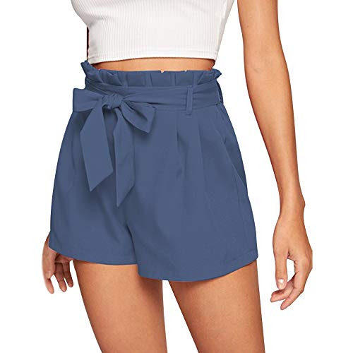 NEWFANGLE Women\'s Casual Paper Bag Shorts Elastic Tie Waist with Pocket Comfy Summer Shorts for Women,Blue-Gray,L