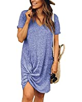 Urchics Womens Casual Short Sleeve Side Knot Loose Mini T Shirt Dress Sky Blue M