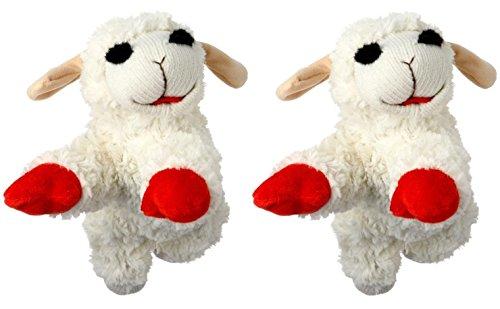 Multipet INTERNATIONAL Lambchop Plush Squeak Toy Mini for Pets, 6-Inch [2-Pack] (Dog Toy Multipet Lamb)