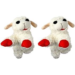 Multipet International Lambchop Plush Squeak Toy Mini for Pets, 6-Inch [2-Pack]