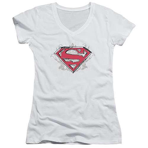 Superman Hastily Drawn Shield Juniors' Sheer Fitted V-Neck T Shirt, Large White ()