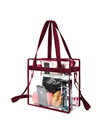 BAGAIL NFL & PGA Stadium Approved Clear Tote Bag with Zipper Closure Crossbody Messenger Shoulder Bag with Adjustable Strap(12 Inch X 12 Inch X 6 Inch,Burgundy)