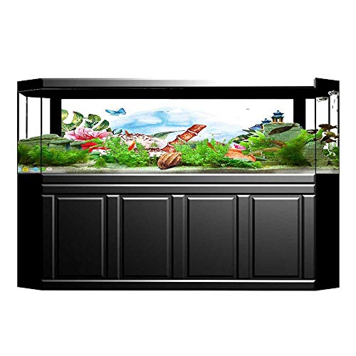 Jiahong Pan Background Fish Tank Decorations Tropical and Butterflies with Berry Sauce and Chocolate Dessert Fish Tank Backdrop Static Cling Wallpaper Sticker L35.4 x H19.6