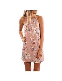 TR.OD Ladies Halter Neck Floral Print Beach Dress Spaghetti Strap Mini Dress