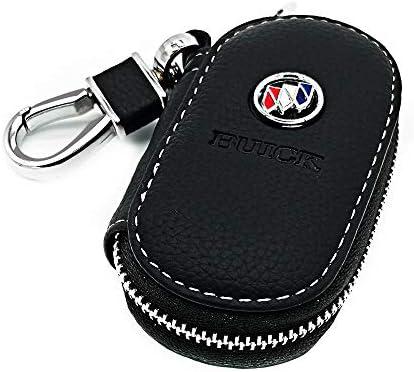 VILLSION Echtes Leder Schlüsseltasche Auto Schlüsselmäppchen Auto Funkschlüssel Halter Schlüssel Kasten mit Edelstahlhaken Metall Reißverschluss, Schwarz