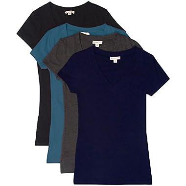 TL Women's 2 or 3 or 4 Pack Basic Cotton Short Sleeves Solid V-neck T-shirts SET4-BK_TEAL_CHAR_NAVY MED