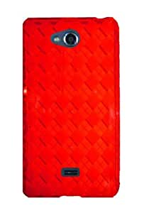 HHI Slim Fit Flexible Jelly Rubber Case for LG Spirit 4G - Red Checker (Package include a HandHelditems Sketch Stylus Pen)