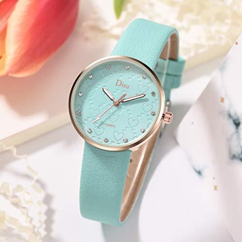 Ketuan Womens Leather Watch, Fashion Lady Frosted Dial Heart Shape Pattern Leather Belt Watch Quartz Watch (H)