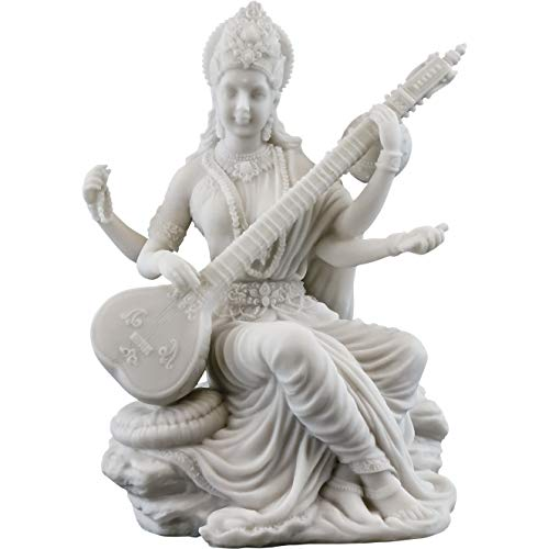 (Top Collection Saraswati Statue - Hindu Goddess of Knowledge, Music & Art Sculpture in White Marble Finish- 5.75-Inch Figurine)