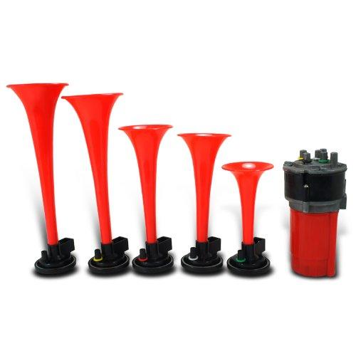 125Db Musical 5Pcs Red Trumpets 12V Dixie Horn W/Air Compressor+Hos?E
