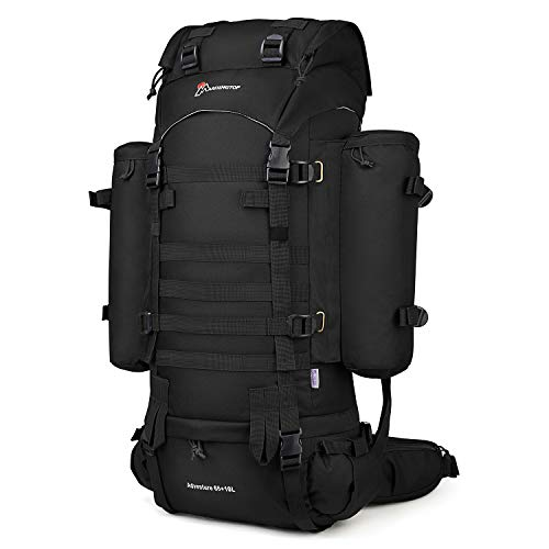 Mardingtop 65+10L Internal Frame Backpack Tactical Military Molle Rucksack for Camping Hiking Traveling with Rain Cover, YKK Zipper YKK Buckle Black