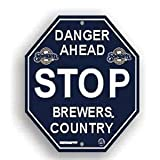 "Milwaukee Brewers Plastic Stop Sign ""Danger Ahead Brewers Country"""
