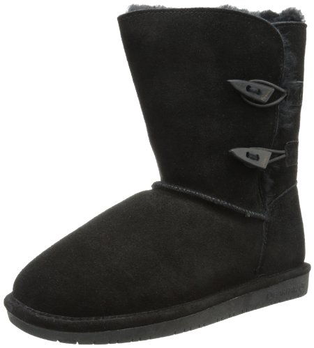 BEARPAW Women's Abigail Winter Boot, Black, 9 M - Mid Legacy Leather Black Shoes