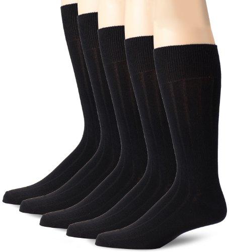 Dockers Men's 5 Pack Classics Classic Rib Crew Socks, Black, Sock Size:10-13/Shoe Size: 6-12 (Rib Socks)