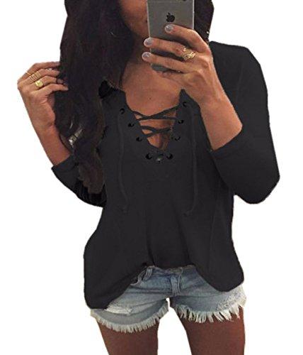 Shirts Couleur Profond Manches T Femme Tops Lache Longues Unie Haut V Noir Shirt Col Casual Bandage Blouse Moderne Sexy Chemisiers 1wfwU7