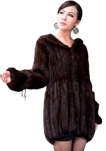 Queenshiny Long Women's Knitted Mink Fur Coat Jacket with Hood-Brown-L(12-14) ()