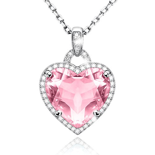 Adan Banfi Birthstone Birth Month Necklace Love Heart Pendant Charm Chain Jewelry Mother's Day Gift (October Birthstone – (Mothers Birthstone Heart Charm Pendant)