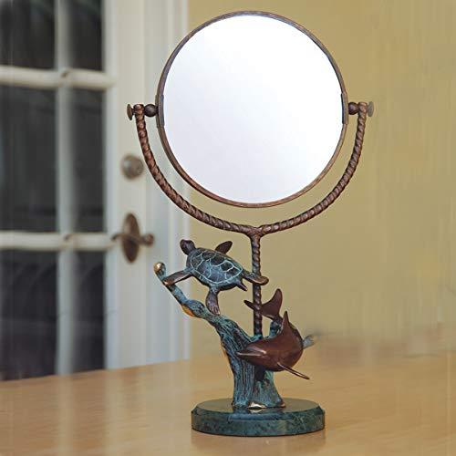 Bella Coastal Decor Dolphin & Turtle Mirror - Dolphins Brass Mirror