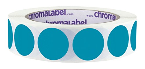 Off Dots Peel - ChromaLabel 1 inch Removable Color-Code Dot Labels | 1,000/Roll (Teal)