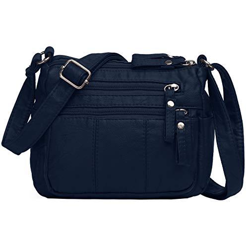 Volcanic Rock Women Crossbody Bag Pocketbooks Soft PU Leather Purses and Handbags Multi Pocket Shoulder Bag (Dark Blue-8.5
