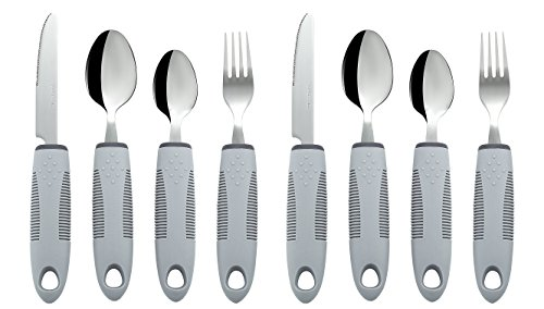 Adaptive Utensils (8-Piece Kitchen Set) Wide, Non-Weighted, Non-Slip Handles for Hand Tremors, Arthritis, Parkinson's or Elderly use   Stainless Steel Knife, Fork, Spoons (Gray - 2 Sets)