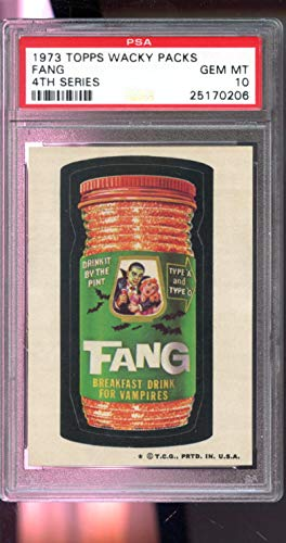1973 Topps Wacky Package Fang 4th Series GEM MINT PSA 10 Graded Card Packs from 4rd Series