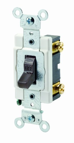 Leviton CSB1-20 20-Amp, 120/277-Volt, Toggle Single-Pole AC Quiet Switch, Commercial Grade, Grounding, Brown