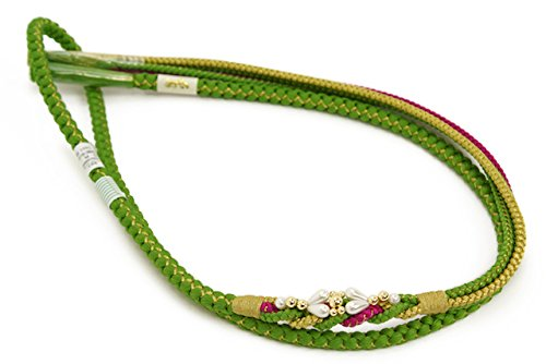 帯締め 松葉色 グリーン パール 手組紐 正絹 [結婚式/成人式/振袖]