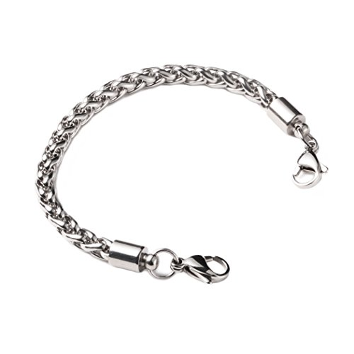 linnalove-Stainless Steel Wheat Chain Interchangeable Bracelets-Match Medical id ()