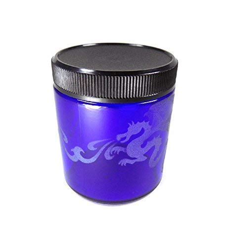 IncisoArt Hand Etched Decorative Jar Permanently Sandblasted (Sand Carved) Glass Handmade Custom Canister Screw-Top Lid (4 Ounce, Cobalt Blue Mystical Dragon)