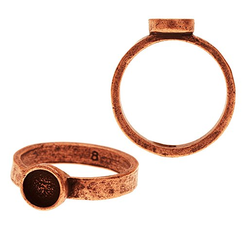 (Nunn Design Ring, Hammered with Circle Bezel Size 8, 1 Piece, Antiqued Copper)