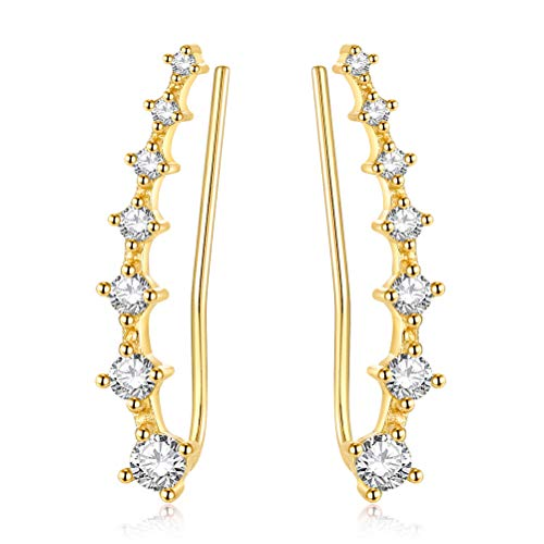 (YAN & LEI Sterling Silver Sweep up Ear Pin Crawler Cuff Wrap Climber Earrings with 7 CZ Stones Color Golden )
